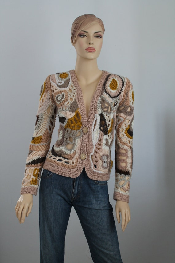 Knitting Wearable Art : Bohemian sweater freeform crochet knitting lace cardigan