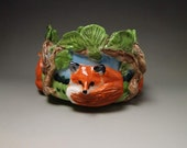 Ceramic fox trinket pin candy dish hand crafted high relief porcelain Anita Reay AnitaReayArt