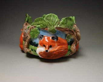 Ceramic fox trinket pin candy dish hand crafted high relief porcelain Anita Reay AnitaReayArt
