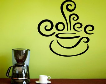 Coffee Wall Decal - Kitchen Decor - Coffee Cup Decal with Steam - Kitchen Wall Sticker