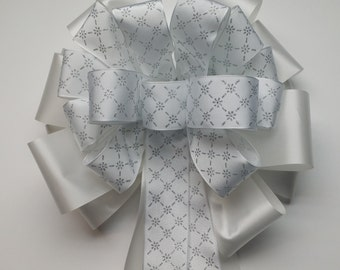 Wedding Pew Bows White with Silver Diagonal Flower Design Wired Ribbon over White Acetate Satin Hand Tied