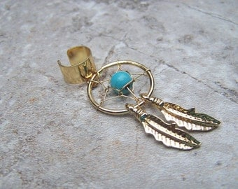 Gold Dreamcatcher Ear Cuff Turquoise Ear Cuffs Dream Catcher Jewelry Feather Body Jewelry