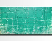 Large wall art  painting - 24 X 48 Inches-by JMJartstudio-Taking A Stand -Wall art - Turquoise -Oil painting