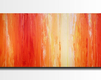Original Large Abstract painting - 24 X 36 Inches-by Artist JMJartstudio-Saturation-Wall art-wall decor - Orange painting-Oil painting