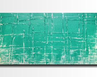 Original Large  Abstract painting - 24 X 48 Inches-by JMJartstudio-Taking A Stand -Wall art - FREE US Shipping - Turquoise -Oil painting