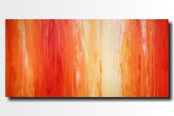 Original Large Abstract painting - 24 X 48 Inches-by Artist JMJartstudio-Saturation-Wall art-wall decor - Orange painting-Oil painting