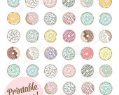 Printable DONUT STICKERS - Digital File Instant Download- planner stickers, party favor, embellishment, doughnuts