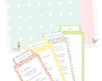 Printable CLEANING Calendar & Cleaning Lists INSERTS - Digital File Instant Download - Planner additions, Cleaning Routines, Planner Inserts