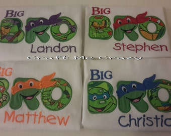 Teenage Turtle Brother - Embroidered Personalized Sibling Shirt - Little, Middle, Big Bro