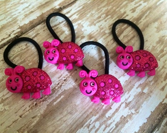 Button Hair Ties - Button Hair Clips - Ponytail Holders - Ladybugs - Choose your Quantity