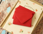 Scarlet RED Coloured Mini Envelopes & Note Cards 10pc set