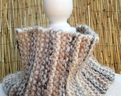 SALE - Hand Knitted Neck Warmer in Oatmeal - Ladies Neck Warmer
