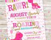 Girly Dinosaur Invite, Girl Dinosaur Birthday, Pink and Gold, pink gold dino invite, Pink Dinosaur, DIY Printable or Printed Invites