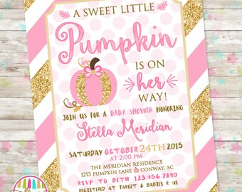 Little Pumpkin Baby Shower, Pink and Gold Invitation, Baby Shower Invite, Fall Baby Shower, Pink Pumpkin, Autumn Baby Shower, DIY Printable