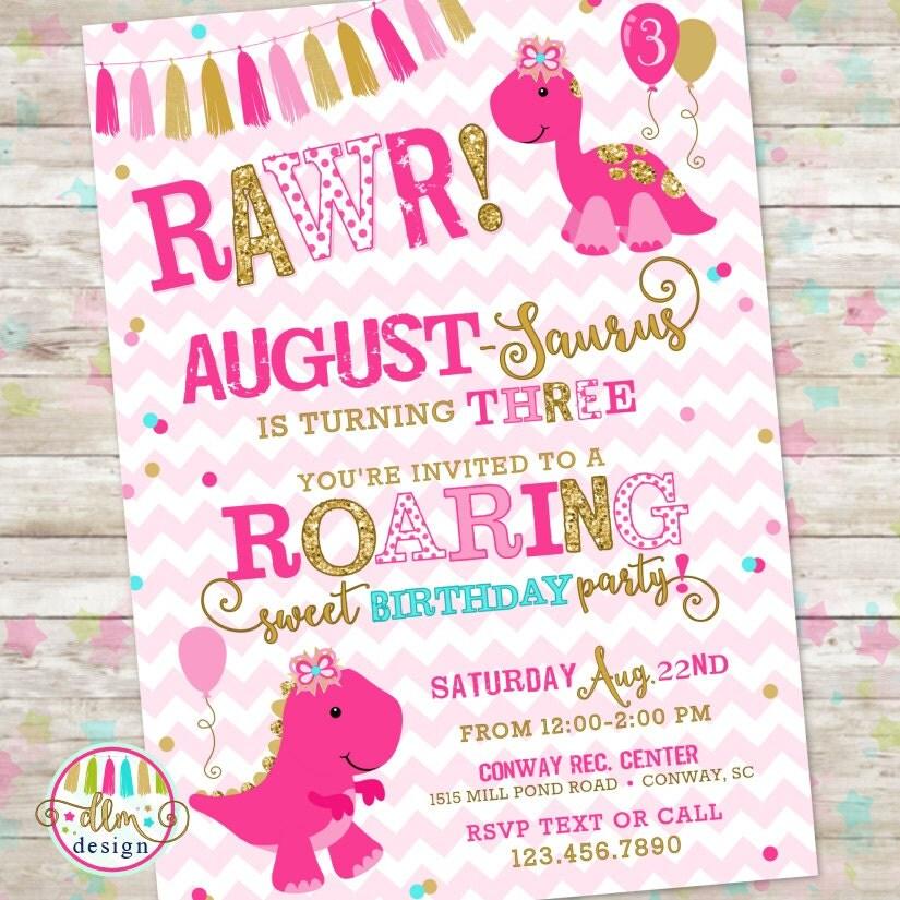 Dinosaur invitation – Girly Party Invitations
