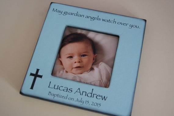 Personalized Baptism Frame For Baby Boy - Gift for Godson, Gifts for Godchild
