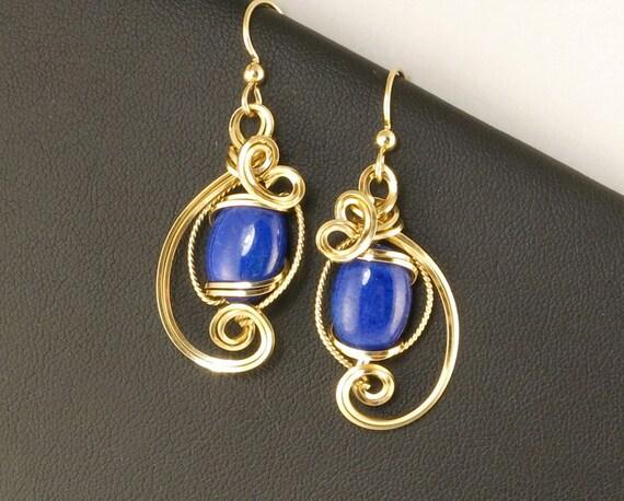 Lapis Lazuli Gold Wire Sculpture Earrings, Royal Blue Wire Art Unique Gemstone Earrings