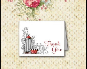 Lace, Teapot and Teacup Thank You Card / Red & Gray / Modern, Whimsical, Cottage Chic, Vintage / Invitation and Favor Available / DIY