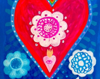 Brave Heart - Fine Art Print. Folk flowers, art painting flowers, bohemian, folk, funky, naive, primitive.