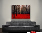 16x20 Canvas Wall Art/ Red Black Forest- Large Canvas Art- Rustic Home Decor- Rustic Canvas- Fiery Autumn