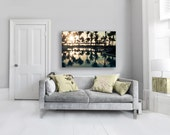 Palm Trees Canvas, Large Abstract Canvas Art, Muted Yellow, Blue, Green, Tropical, 16x20 Canvas Art Yoga Studio