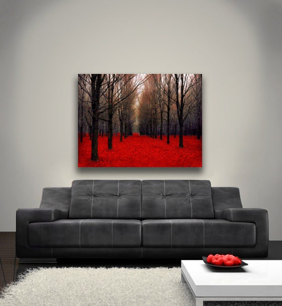 "Large Canvas Art, Red Forest, Rustic Wall Decor, Wall Art Canvas, Black, Red, Halloween, ""Fiery Autumn"""
