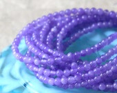 3mm Round Gemstone Beads - Jewelry Making Supplies - Dyed Round Agate (8 Inch Strand ~70 beads) Lavender