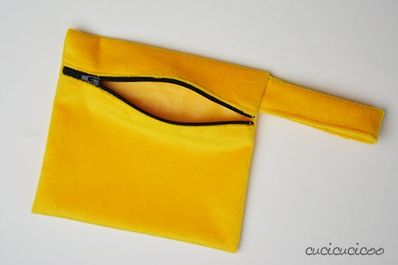 Small yellow minkee WET BAG for cloth pads or wipes - WATERPROOF, fuzzy minkey with black zipper
