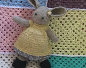 Lovely knitted bunny girl with 2 dresses