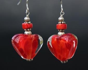 Valentine's Earrings, Red  Heart Earrings, Lampwork Glass, Sterling Silver, Valentine's Day Gift