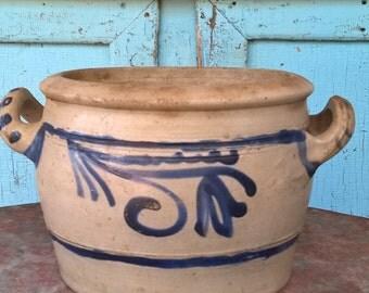 "Salt glazed stoneware crock, marked ""3"""