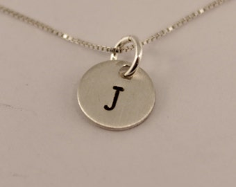Petite Sterling Silver Personalized Initial Charm Necklace - Hand stamped