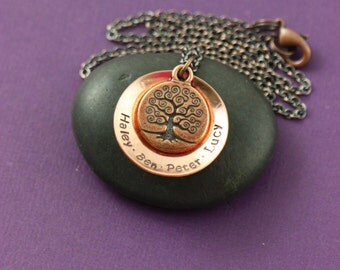 Family Tree Necklace - Personalized Necklace - Birthday Gift - Mother's Day - Family Necklace - Name Jewelry - Mothers Gift - Mommy Jewelry