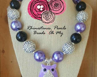 Chunky Bling Owl Necklace, Girls Chunky Necklace, Chunky Bubblegum Necklace, Little Girl Birthday Necklace, Toddler Necklace