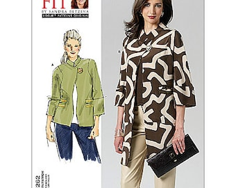 """Bust 32"""" to 55"""" - Vogue Jacket Pattern V1262 by SANDRA BETZINA - Misses' Loose Fitting Jacket with Open Front  - Vogue Patterns"""