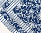 Blue and White Placemats  - Reversible Placemats - Heat Resistant Placemats - Blue Floral Placemats - Blue Striped - Set of 4
