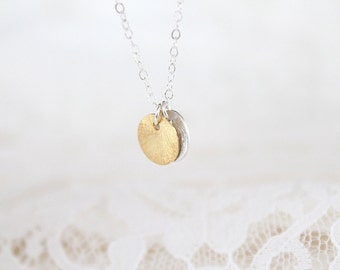 Disc Necklace, Double Gold Vermeil and Sterling Silver - Sunrise Sunset - SALE