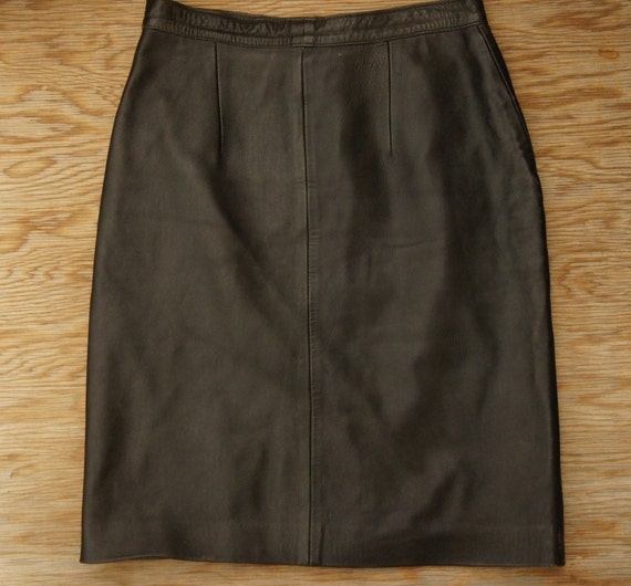 vintage 80s 90s black leather pencil skirt high by