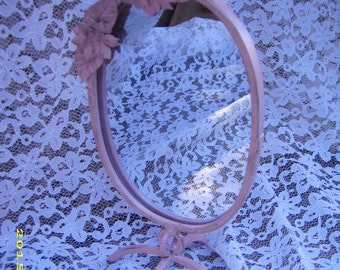 Vintage Italian Painted PInk Metal Floral Standing Boudoir Mirror