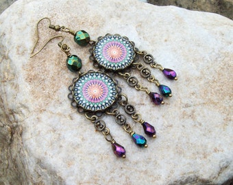 Mandala earrings, Kaleidoscope glass Cabochon, Gypsy earrings with beaded dangles, Chandelier earrings, Bohemian Hippie, Yoga