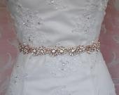 "Rose Gold Skinny Sash, Crystal Bridal Sash, Skinny Wedding Belt, Rhinestone Bridal Sash, 24.5"" of Crystals - ARIANNA"