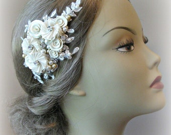 Pale Gold Champagne Flower Hair Clip, Bridal Fascinator with Crystals and Pearls, Flowers - LIZETTE
