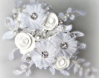 White Wedding Hair Flowers, Bridal Fascinator with Crystals and Pearls, Flowers, Ivory, Champagne - ALLISON