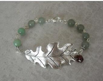 Silver Leaf Bracelet, Charm Bracelet, Silver, Cuff, bangle bracelet, gift, charm bracelet, green