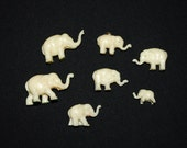 Vintage Group of 7 Elephant Miniatures - Gumball Charms - Cracker Jack Prizes - 1920's - 1930's - Micro Figurines