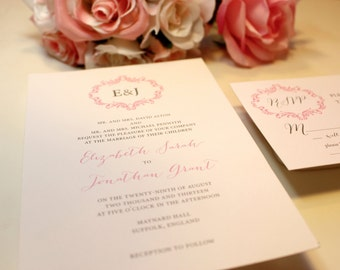 Monogram Wedding Invitations, Vintage Invitations, Pink and Gray, Romantic Invitations - Regency Invitation Set Sample
