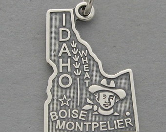 Sterling Silver .925 Charm Pendant IDAHO State Map SC611