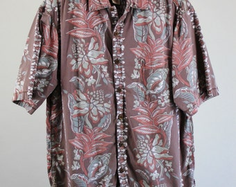 SALE - Vintage Pau Hana Hawaiian Tropical Island Style Floral Surf Beach Shirt - Mens Size Large