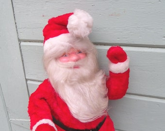 "SANTA STORE DISPLAY, Plush Fabric Over Frame, Celluloid Head, 32"" Tall, 1950's, Vintage Christmas, Holiday Decor"
