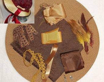 Bonnet Kit- DIY- Brown, Gold and Bronze- Regency, Georgian, Jane Austen Era Bonnet